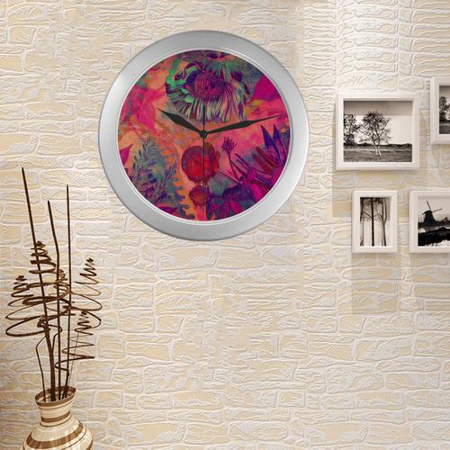 flora 8 Silver Color Wall Clock