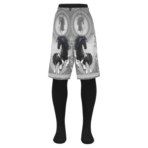 Awesome horse in black and white with flowers Men's Swim Trunk (Model L21)