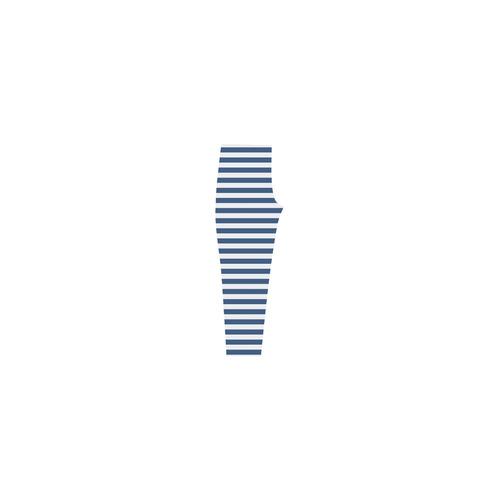Blue and White Nautical Stripes Capri Legging (Model L02)