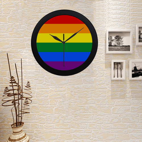 Gay Pride Rainbow Flag Stripes Circular Plastic Wall clock