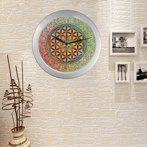 FLOWER OF LIFE vintage ornaments green red Silver Color Wall Clock