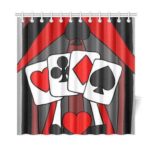 Artsy Playing Cards Abstract Shower Curtain 72x72