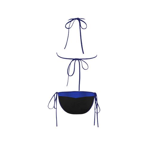 Polka Dots with Blue Sash and Black Bottom Custom Bikini Swimsuit