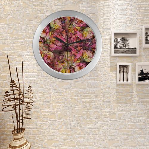 flora 2 Silver Color Wall Clock