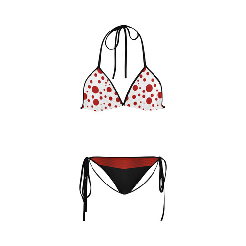 Polka Dots with Red Sash and Black Custom Bikini Swimsuit