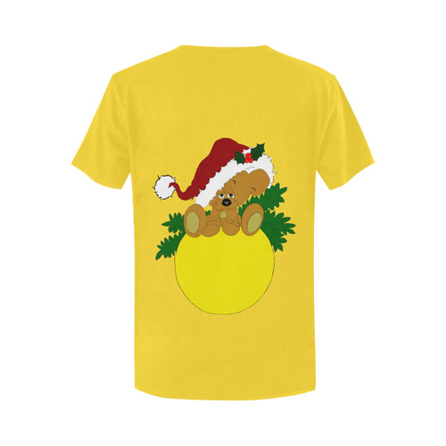 Christmas Teddy Bear Ornament Yellow Women's T-Shirt in USA Size (Two Sides Printing)