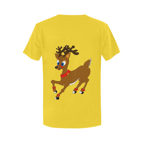 Christmas Reindeer Yellow Women's T-Shirt in USA Size (Two Sides Printing)