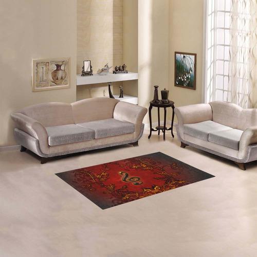 """Music, clef and red floral elements Area Rug 2'7""""x 1'8''"""