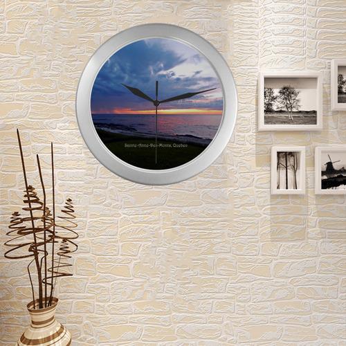 Sunset RainStorm Silver Color Wall Clock