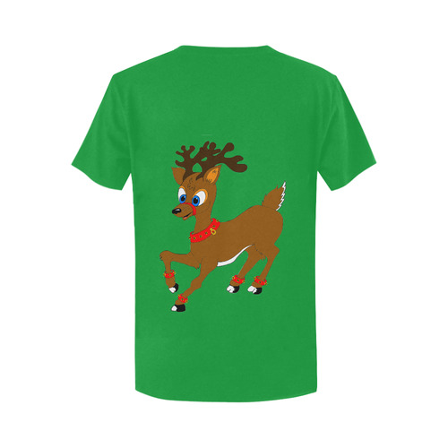 Christmas Reindeer Green Women's T-Shirt in USA Size (Two Sides Printing)