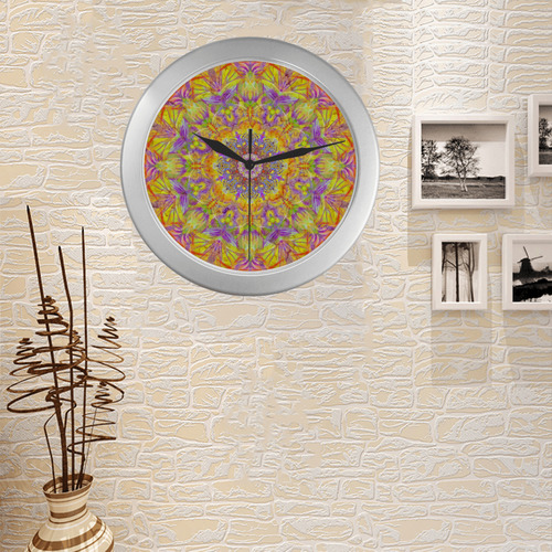 plume 9 Silver Color Wall Clock