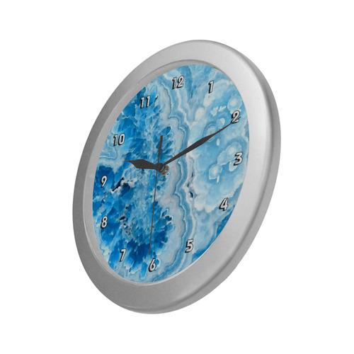 Blue Aqua Geode Nature Fine Art Silver Color Wall Clock