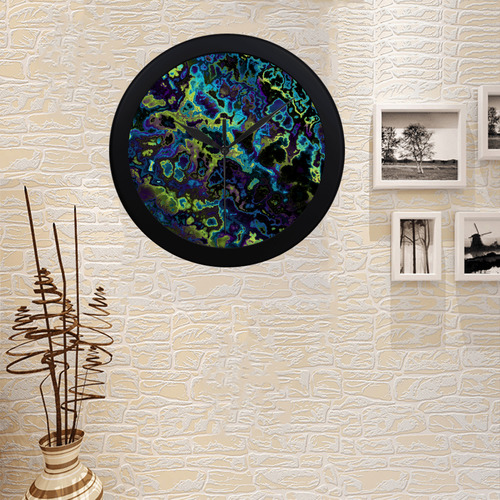 purple yellow blue and black Circular Plastic Wall clock