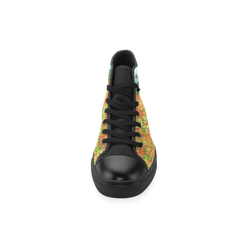 Vincent Van Gogh Field With Red Poppies High Top Canvas Women's Shoes/Large Size (Model 017)