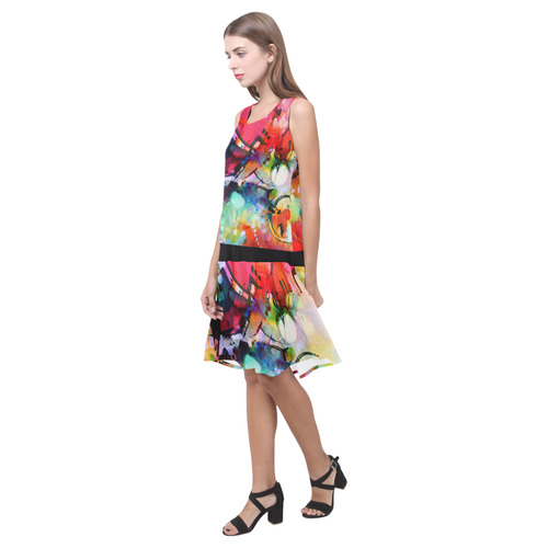 Color Cacophony Sleeveless Splicing Shift Dress(Model D17)