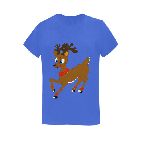 Christmas Reindeer Blue Women's T-Shirt in USA Size (Two Sides Printing)