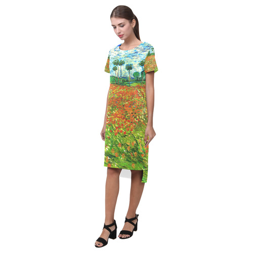 Vincent Van Gogh Field With Red Poppies Short Sleeves Casual Dress(Model D14)