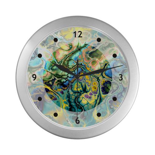 Flower Power Fractal Batik Teal Yellow Blue Salmon Silver Color Wall Clock