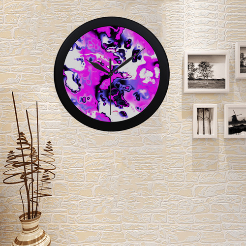 pink purple white abstract Circular Plastic Wall clock