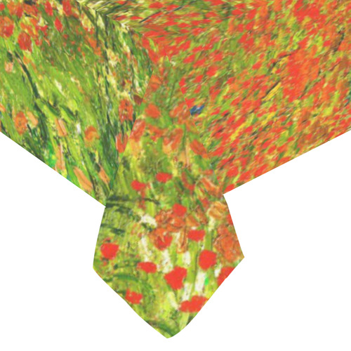 "Vincent Van Gogh Field With Red Poppies Cotton Linen Tablecloth 60""x 104"""