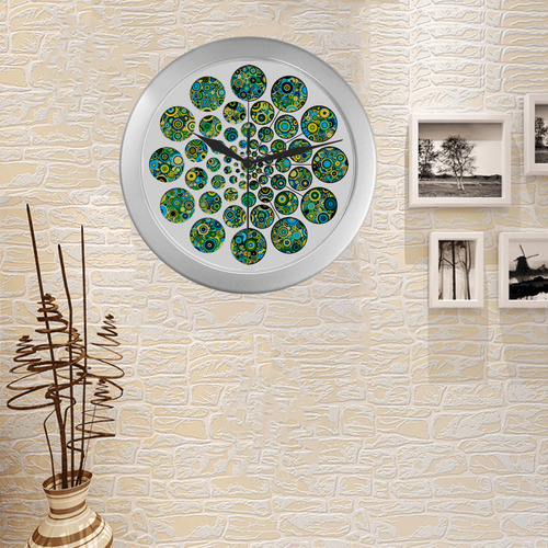 Flower Power CIRCLE Dots in Dots cyan yellow black Silver Color Wall Clock