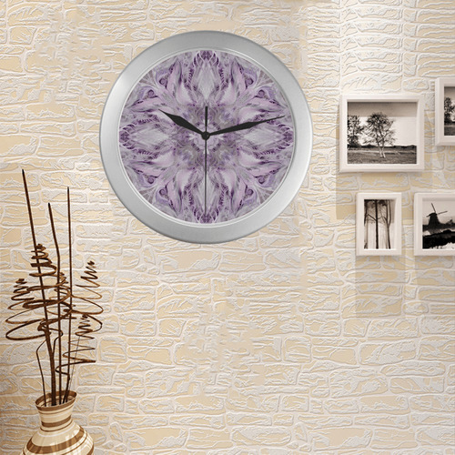 night party mandala 15 Silver Color Wall Clock