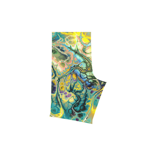 Flower Power Fractal Batik Teal Yellow Blue Salmon Men's Swim Trunk (Model L21)