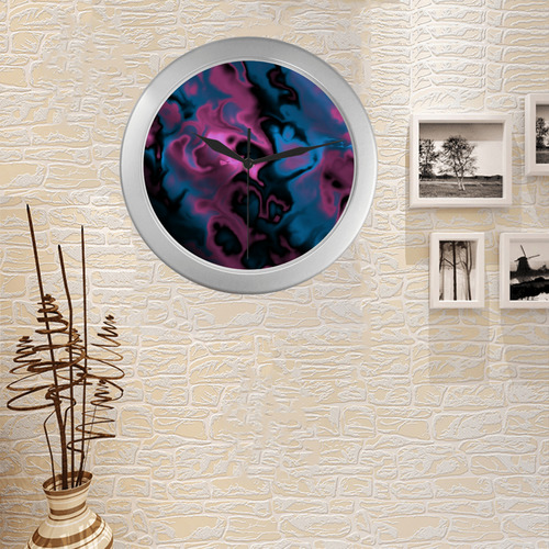 pink blue and black abstract Silver Color Wall Clock