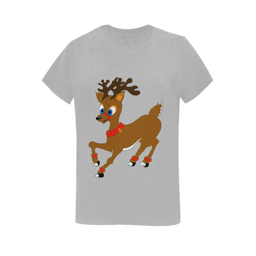 Christmas Reindeer Grey Women's T-Shirt in USA Size (Two Sides Printing)