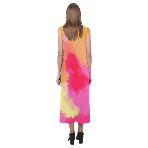 Pink, Orange and Yellow watercolor midi dress Phaedra Sleeveless Open Fork Long Dress (Model D08)