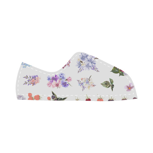 Cute floral artistic Shoes : Purple and White edition 2016 Canvas Kid's Shoes (Model 016)