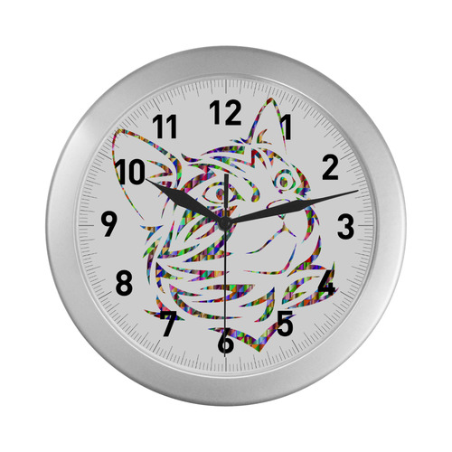 Abstract Triangle Cat Silver Color Wall Clock