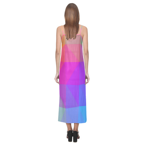 Triangle Rainbow Abstract V-Neck Open Fork Long Dress(Model D18)