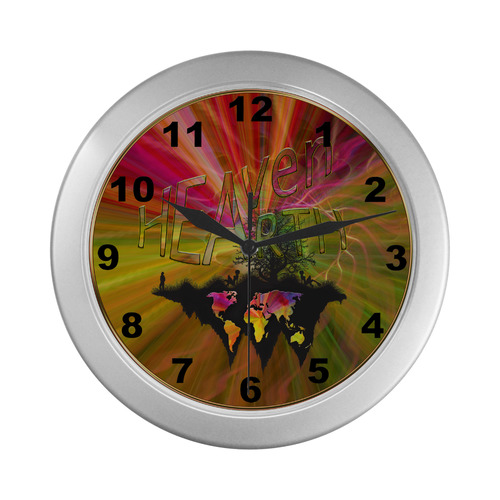 Heaven Earth Silver Color Wall Clock