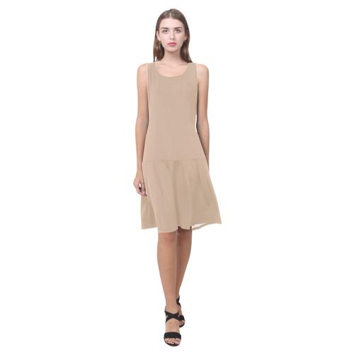 Hazelnut Sleeveless Splicing Shift Dress(Model D17)