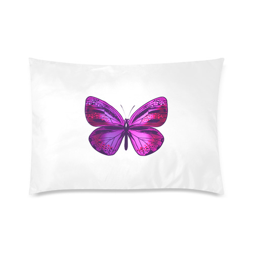 "Cute Neon pink and purple Butterfly on white Pillow : designers artistic LINE 2016 Custom Zippered Pillow Case 20""x30""(Twin Sides)"