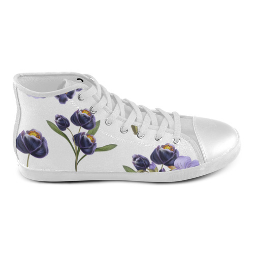 Handdrawn original vintaeg Luxury shoes editon : Floral art in purple and white High Top Canvas Kid's Shoes (Model 002)