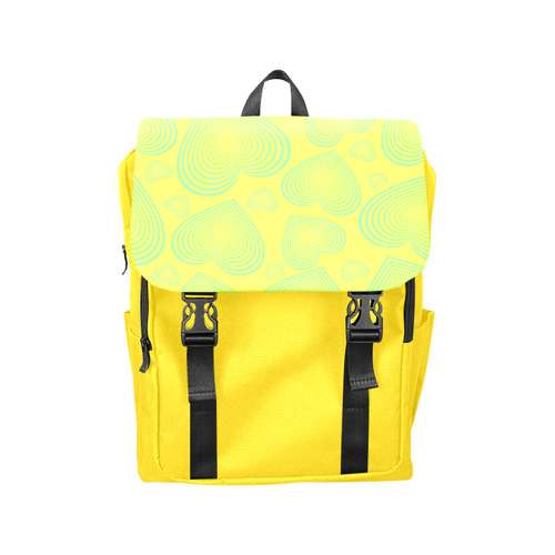 New designers Bags Arrivals! Lemon yellow Collection, Backpack edition with wild Hearts Casual Shoulders Backpack (Model 1623)