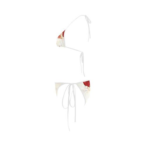 A cute vintage Santa Claus with a mistletoe Custom Bikini Swimsuit