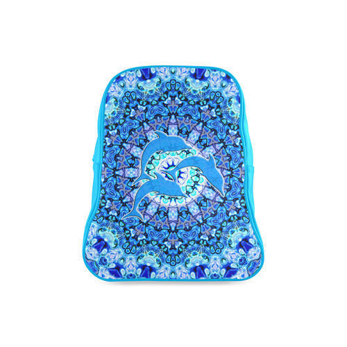Mandala Magic Blue JUMPING DOLPHINS School Backpack/Large (Model 1601)