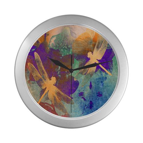 Orange Orange Dragonflies WW Silver Color Wall Clock