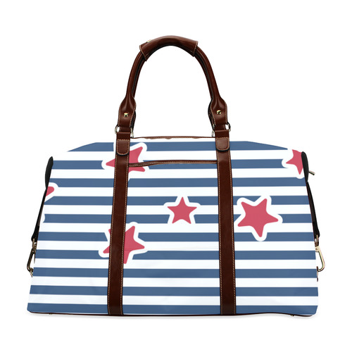 Blue, Red and White Stars and Stripes Classic Travel Bag (Model 1643) Remake