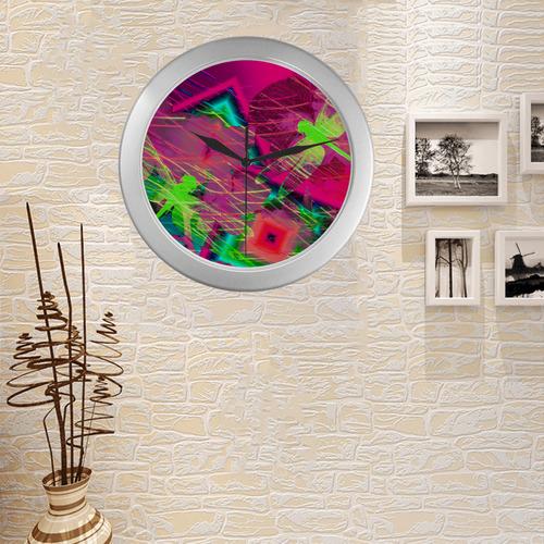 Dragonflies22 Silver Color Wall Clock