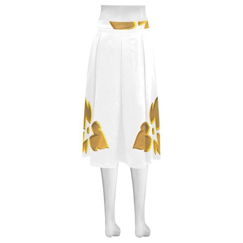 3-D Look Metallic Golden Leaves Border on White Mnemosyne Women's Crepe Skirt (Model D16)