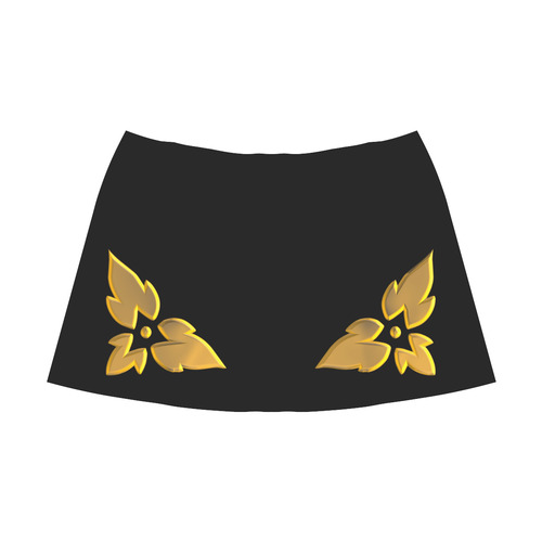 3-D Look Metallic Golden Leaves Border on Black Mnemosyne Women's Crepe Skirt (Model D16)
