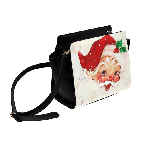 A cute vintage Santa Claus with a mistletoe Satchel Bag (Model 1635)