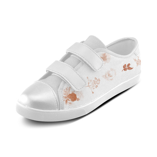 New brown Shoes : brown and white floral art on Shoes 2016 Velcro Canvas Kid's Shoes (Model 008)