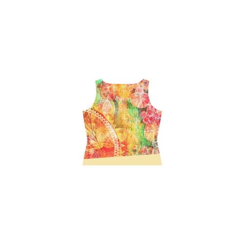 Sunshine Garden Sleeveless Splicing Shift Dress(Model D17)