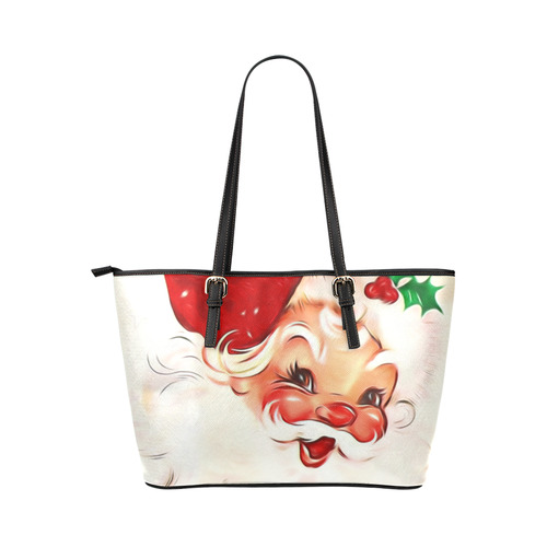 A cute vintage Santa Claus with a mistletoe Leather Tote Bag/Large (Model 1651)