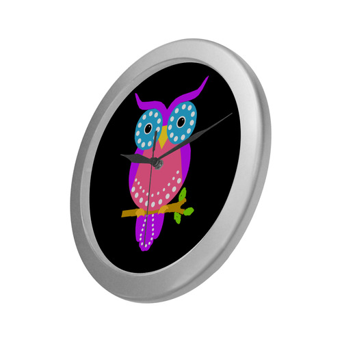 Owl Silver Color Wall Clock